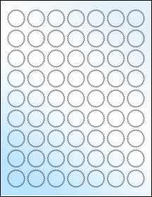 """Sheet of 1"""" Starburst White Gloss Laser labels"""