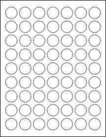 "Sheet of 1"" Starburst Aggressive White Matte labels"