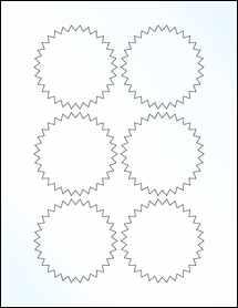 """Sheet of 3"""" Starburst Clear Gloss Inkjet labels"""