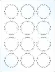 "Sheet of 2.25"" Starburst Clear Gloss Laser labels"