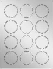 """Sheet of 2.25"""" Starburst Silver Foil Laser labels"""