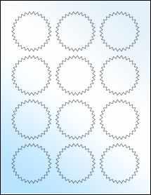 """Sheet of 2.25"""" Starburst White Gloss Laser labels"""