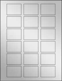"""Sheet of 2"""" x 1.5"""" Silver Foil Laser labels"""