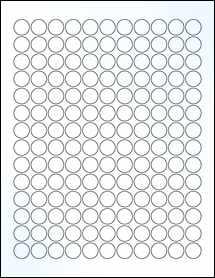 "Sheet of 0.625"" Circle Clear Gloss Inkjet labels"