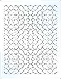"""Sheet of 0.625"""" Circle Clear Gloss Laser labels"""
