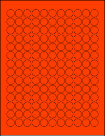 """Sheet of 0.625"""" Circle Fluorescent Red labels"""