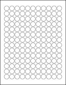 "Sheet of 0.625"" Circle Weatherproof Polyester Laser labels"