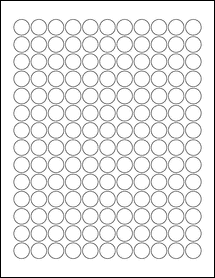 """Sheet of 0.625"""" Circle Removable White Matte labels"""