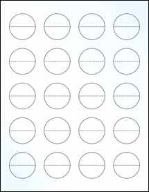 """Sheet of 1.5"""" Circle Perf. Center Clear Gloss Laser labels"""
