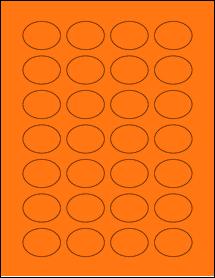 "Sheet of 1.5"" x 1.125"" Oval Fluorescent Orange labels"