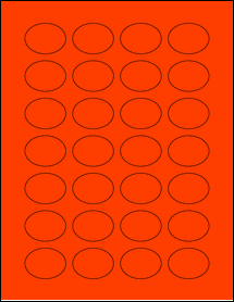 """Sheet of 1.5"""" x 1.125"""" Oval Fluorescent Red labels"""