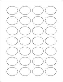 """Sheet of 1.5"""" x 1.125"""" Oval Weatherproof Gloss Inkjet labels"""