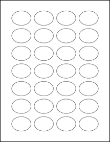 """Sheet of 1.5"""" x 1.125"""" Oval Removable White Matte labels"""
