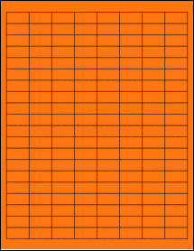 "Sheet of 1"" x 0.5"" Fluorescent Orange labels"