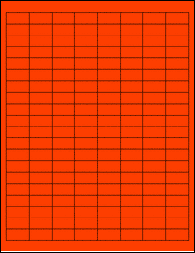 """Sheet of 1"""" x 0.5"""" Fluorescent Red labels"""