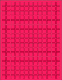 "Sheet of 0.5"" x 0.5"" Fluorescent Pink labels"