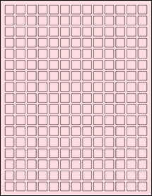 "Sheet of 0.5"" x 0.5"" Pastel Pink labels"