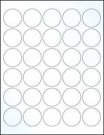 """Sheet of 1.5"""" Circle Clear Gloss Laser labels"""
