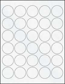 "Sheet of 1.5"" Circle Clear Matte Laser labels"