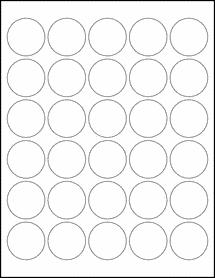 "Sheet of 1.5"" Circle Weatherproof Matte Inkjet labels"