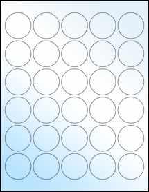 "Sheet of 1.5"" Circle White Gloss Laser labels"