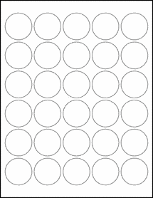 "Sheet of 1.5"" Circle Aggressive White Matte labels"