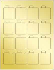 """Sheet of 1.6875"""" x 2.125"""" Gold Foil Laser labels"""