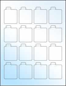 """Sheet of 1.6875"""" x 2.125"""" White Gloss Laser labels"""