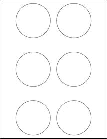 """Sheet of 2.75"""" Circle Weatherproof Gloss Inkjet labels"""