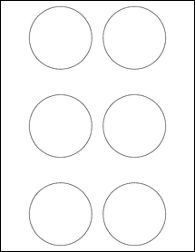 """Sheet of 2.75"""" Circle Removable White Matte labels"""