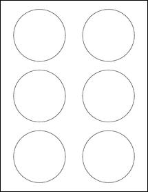 "Sheet of 3"" Circle Standard White Matte labels"