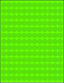 "Sheet of 0.5625"" Circle Fluorescent Green labels"