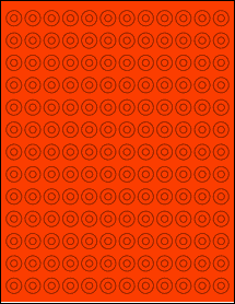 """Sheet of 0.5625"""" Circle Fluorescent Red labels"""