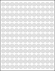 "Sheet of 0.5625"" Circle Weatherproof Matte Inkjet labels"