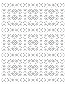 """Sheet of 0.5625"""" Circle Removable White Matte labels"""
