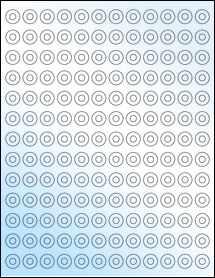 "Sheet of 0.5625"" Circle White Gloss Laser labels"