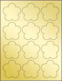 """Sheet of 2.4565"""" x 2.3962"""" Gold Foil Inkjet labels"""