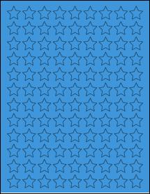 "Sheet of 0.75"" x 0.75"" True Blue labels"