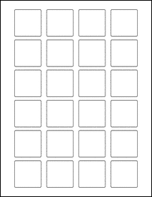 """Sheet of 1.5"""" x 1.5"""" Square Removable White Matte labels"""