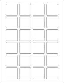 "Sheet of 1.5"" x 1.5"" Square Standard White Matte labels"