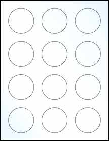 """Sheet of 2"""" Circle Clear Gloss Laser labels"""