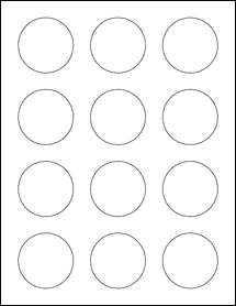 """Sheet of 2"""" Circle Weatherproof Gloss Inkjet labels"""
