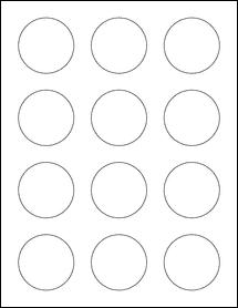 "Sheet of 2"" Circle Standard White Matte labels"