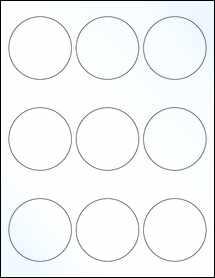 "Sheet of 2.5"" Circle Clear Gloss Inkjet labels"
