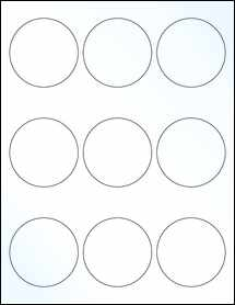 """Sheet of 2.5"""" Circle Clear Gloss Laser labels"""