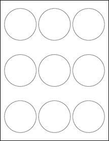 """Sheet of 2.5"""" Circle Weatherproof Gloss Inkjet labels"""