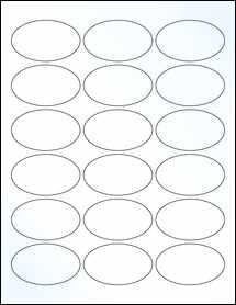 "Sheet of 2.5"" x 1.5"" Oval Clear Gloss Inkjet labels"