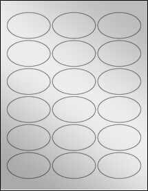 """Sheet of 2.5"""" x 1.5"""" Oval Silver Foil Inkjet labels"""