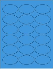 """Sheet of 2.5"""" x 1.5"""" Oval True Blue labels"""