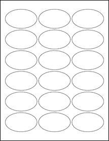 """Sheet of 2.5"""" x 1.5"""" Oval Removable White Matte labels"""
